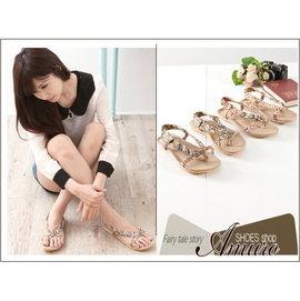 Amuro shoes ~QP791~~現~浪漫盛夏 小花圖紋夾腳低跟涼鞋 紅 棕