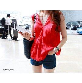 BLACK SHOP~AA2749~ 名媛氣質性感深V領露背短袖襯衣上衣襯衫可搭短裙窄裙半