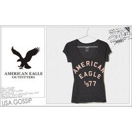 ㊣ USA GOSSIP ㊣ American Eagle AE 美國老鷹深灰 女 大U領