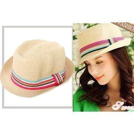 ^~ IOIO ^~~出口日韓~度假風^~ 草編 彩色條紋帶 中折帽 禮帽 爵士帽 紳士帽