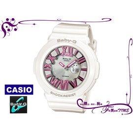 腕美錶情   CASIO_Baby~G 3D立體多層次霓虹潮流腕錶 雙顯 ^(白^) BG