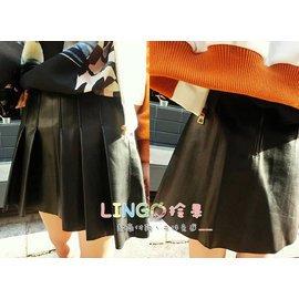 .LinGo拎果.C606~10 正韓 大牌超高 複合雙層皮質 百褶皮裙 黑色短裙  打勾