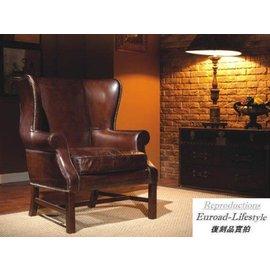 ~台大復刻 ~鹿角椅 Downing Armchair 復古做舊全牛皮~Vintage~非