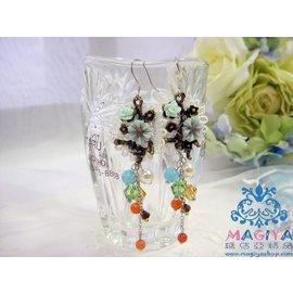 MAGIYA瑪佶亞 浪漫女人系列 垂墬耳環 風情繽紛彩珠925純銀針耳環 夾式耳環