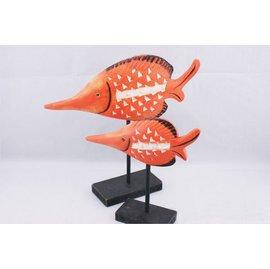 ~星之屋 工坊~zakka 北歐風 木雕彩繪熱戀情侶魚擺飾熱帶魚家居擺飾魚木雕店面裝飾拍照