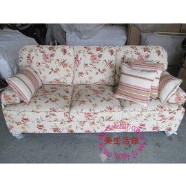 美 館~~~~ 美式鄉村風 客訂款 新花色 玫瑰花布花 三人 沙發~~可挑色.座墊可拆洗