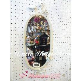 ^~︵House傢飾︵^~鄉村風格洗白立體小鳥橢圓鍛鐵掛鏡 鏡子 燭台~~ 款 新發售~~