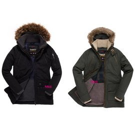 ^~NALU^~ !極度乾燥 SUPERDRY  加厚保暖 重工洗水連帽 可拆毛領 大衣