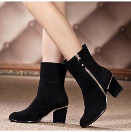包郵2013春秋女靴子粗跟高跟短靴英倫真皮馬丁靴裸靴單靴中靴秋鼕