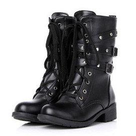 2013春秋 單靴子馬丁靴鉚釘粗中跟3皮帶扣橡膠底女短靴大碼