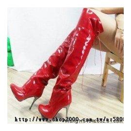 ~茹夢SM情趣變裝用品店~2012 靚麗漆皮長靴魅力高跟靴過膝鋼管舞靴子^(34~43碼^