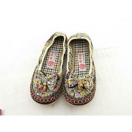 彈力面小碎花平底女鞋老北京布鞋瑜珈鞋舞蹈鞋船鞋ZS~101