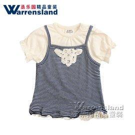 寶寶假兩件套短袖女童t恤純棉夏裝小童兒童條紋短袖t恤