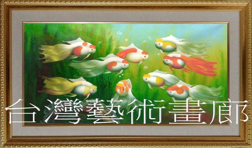 【吉祥如意艺术】㊣陈老师手绘九鱼图油画~金玉满堂
