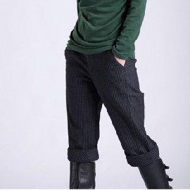 性感美梅╭~專櫃品牌 子牧專櫃正品2010冬裝大碼細格氣質休閒抓絨收腿棉靴褲 0985