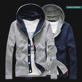 性感美梅╭☆【BLUE WEST】2013新品!皮質拉鏈連帽雙重門襟男裝開衫外套YJ805