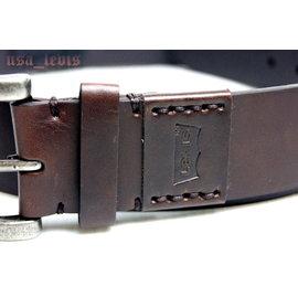 ~滾輪彎角金屬銀頭~美國LEVIS 商標烙印皮革拼接手縫線咖啡棕色寬版皮帶30~36腰 5