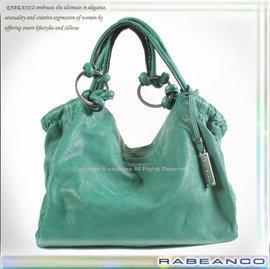 ~騷包館~RABEANCO專櫃品牌 羊皮 輕巧麻花結 弧度肩背包 綠色 C803033AX