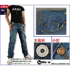 24小時內發貨~ 元素~~5526~~夏日型男 窄版潮褲 淺藍斜紋特色牛仔褲