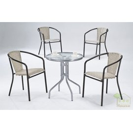 ^~家事達^~ OA~518~1 2 玻璃休閒圓桌古典椅組^(一桌4椅^)~~