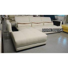 ~宏興HOME BRISK~ 貝多納L型  牛皮沙發 2個收納空間 頭枕 可調整 合宜 水