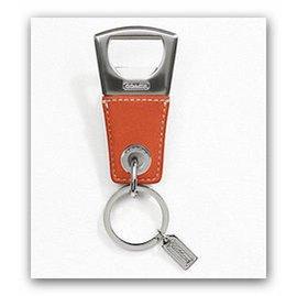COACH 60435 橘色皮革環扣開瓶器兩用鑰匙圈