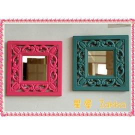 Vintage 風家居 邊框花紋浮雕裝飾掛鏡 化妝鏡 方形鏡子 懷舊感掛壁鏡 歐式古典復古