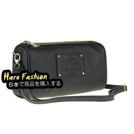 正品 VIVIENNE WESTWOOD 黑色 十字紋 精緻小枕頭包 筆袋形小包 肩背側背