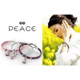 ~PEACE33~韓國空運~髮飾飾品 小洋裝吊墜 雙圈皮質繩索磁釦手鐲 手鍊 手環~現 預