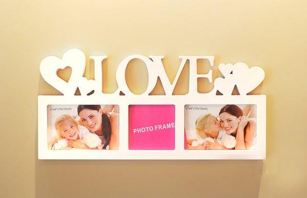 欧式字母组合爱心相框love爱居家创意白色相框摆饰