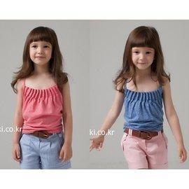 ~貝貝樂SHOW~韓國phelfish品牌 多摺皺細肩帶上衣^~粉色、藍色^~零碼 品^~