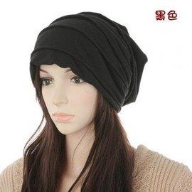 天 男士帽子純色簡潔套頭帽嘻哈新潮保暖皺褶堆堆帽頭巾帽
