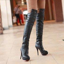 氣質女王膝上靴過膝長靴防水台超高跟女靴子高筒靴 大碼女鞋40~43
