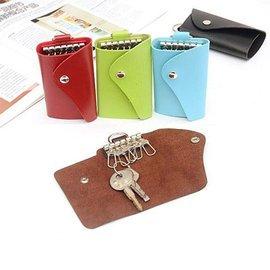 男女糖果色波浪形皮質鑰匙包情侶簡約便攜多扣位鑰匙收納包30g