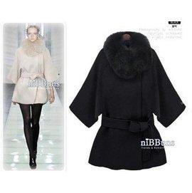 2014 新品 貴氣鬥蓬英倫風外套配保暖毛領羊毛呢鬥蓬大衣女