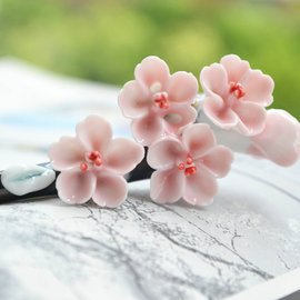 景德鎮陶瓷飾品 古典發簪 桃花情簪子 原創民族風夏款 女