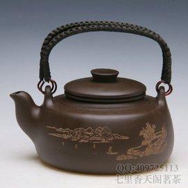 650ml超大宜興紫砂茶壺 功夫大茶具茶壺 帶內膽紫砂壺 大號提梁壺