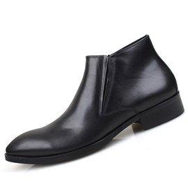 高幫英倫真皮商務 皮鞋尖頭拉鏈牛皮男鞋復古短靴 男靴子潮