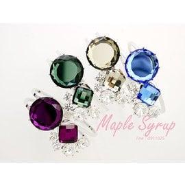 ~楓糖漿 館~韓國 ~華麗 璀璨施華洛世奇水晶 大型環型手環 90~60~7 銀紫