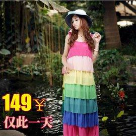 2014 夏雪紡連衣裙波西米亞沙灘裙彩虹裙拖地長裙蛋糕裙女海邊