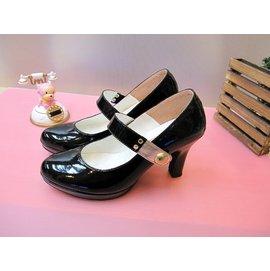 Pink蜜糖甜心~ 永恆簡約漆皮瑪麗真跟鞋 黑色  製