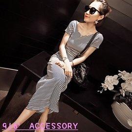 916   accessory504A~5772 夏女細條紋修身短袖女連衣裙7~2