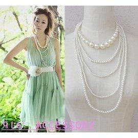 韓國飾品名媛氣質珍珠多層長款項鏈超仙 服飾配飾品毛衣鏈百搭