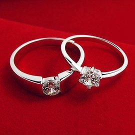 專櫃正品鑽石戒指 情侶對戒男女結婚戒 925純銀飾品鍍白金 帶證書