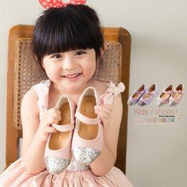 女童鞋~閃亮亮片鞋頭.配色皮革女童包鞋 娃娃鞋^~^~共兩色:22^~34^~^~^( ^