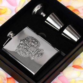 正品俄羅斯徽標浮雕雙鷹6盎司304不鏽鋼酒壺隨身便攜 套裝包郵
