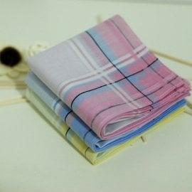 包郵 純棉女士手帕緞條全棉男士手絹汗巾提花淺色吸汗柔軟撞色