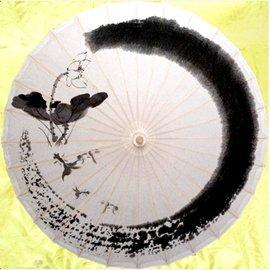 瀘州油紙傘 防雨防曬 古典紙傘 遮陽傘 工藝傘 水墨荷花 古典油傘