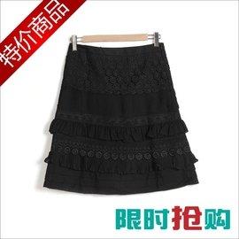 春裝秋款新女裝拉夏貝爾正品 蛋糕雪紡蕾絲半身裙短裙W3437