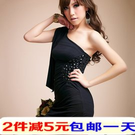 夜店性感緊身包臀裙斜肩垂帶修腰修身顯瘦誘惑女式黑色小禮服短群